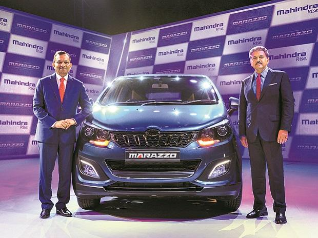 M&M Executive Chairperson Anand Mahindra with Managing Director Pawan Goenka at the launch of Mahindra Marazzo multi-purpose vehicle, in Nashik on Monday. The car's prices starts from Rs 999,000 | Photo: PTI