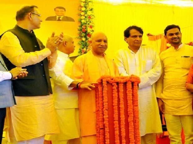 UP CM Yogi Adityanath at the launch of Gorakhpur Airport's terminal phase-2. (Photo: @myogiadityanath)
