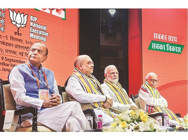 Prime Minister Narendra Modi, BJP President Amit Shah, Finance Minister  Arun Jaitley and senior leader L K Advani during the BJP's National Executive  meet in New Delhi on Saturday | Photo: PTI