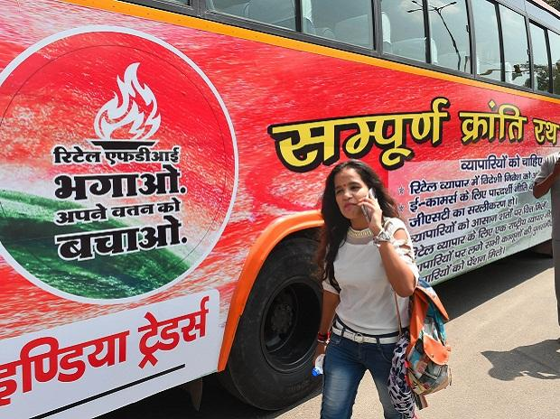 The bus (rath) that will lead the 'Sampoorn Kranti Yatra' against Walmart-Flipkart deal and FDI in retail, at Red Fort, in New Delhi