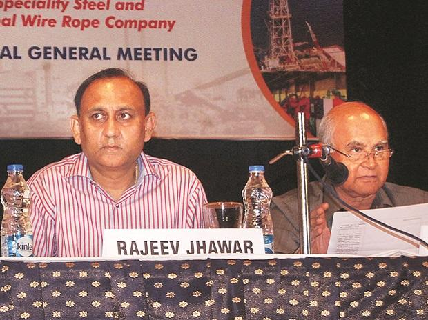 Rajeev Jhawar (left), MD, and G N Bajpai, chairman of Usha Martin, at the AGM in Kolkata on Tuesday	Photo: subrata majumder