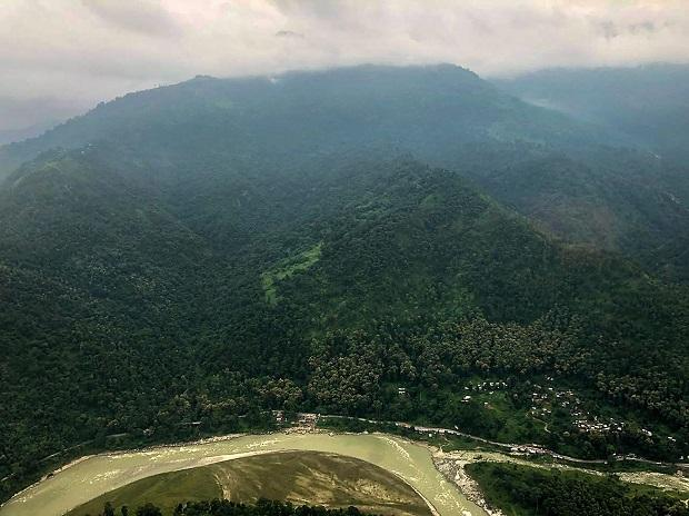 Airport carved out from the mountain side using massive geo technical 'cut and fill' engineering works