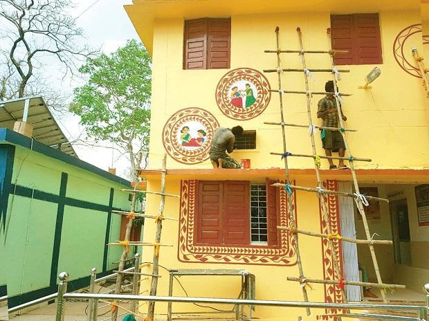 Work in progress at the Health and Wellness Centre in Jangla, Chhattisgarh