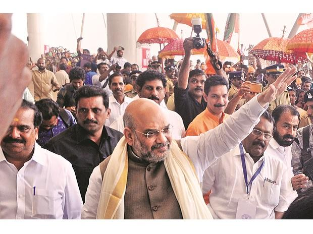 In Kannur, Amit Shah said the BJP was planning protests from October 30 to November 12 to protect the rituals of Sabarimala 	PTI: Photo