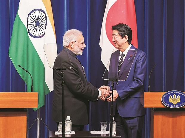 Prime Minister Narendra Modi  with his Japanese  counterpart Shinzo Abe during the joint press statement  in Tokyo on Monday. Photo: PTI
