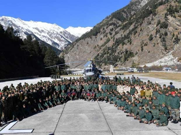 Prime Minister Narendra Modi with army jawans in Harsil.