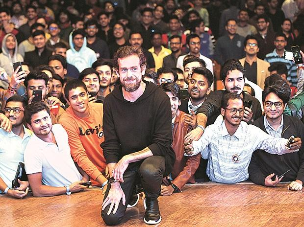 Twitter Chief Executive Officer and co-founder Jack Dorsey with IIT-Delhi students in New Delhi on Monday (Photo: PTI)