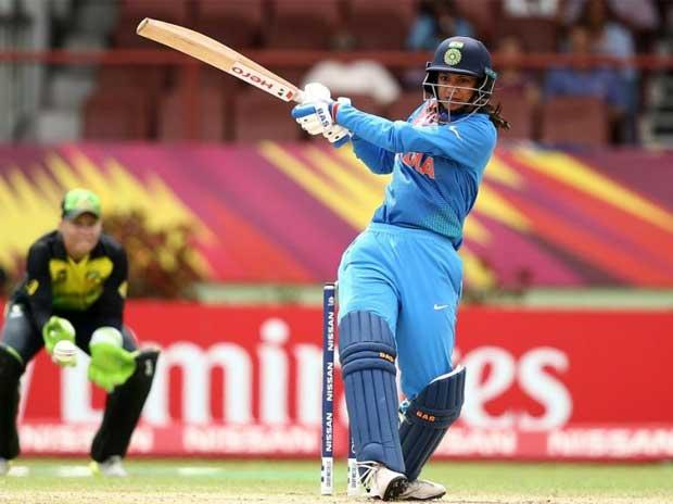 Smriti Mandhana plays a shot on the leg side in the ICC Women's World T20 match against Australia