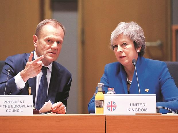 British PM Theresa May (right) and EU Council President Donald Tusk during the EU leaders in Brussels (Photo:Reuters)