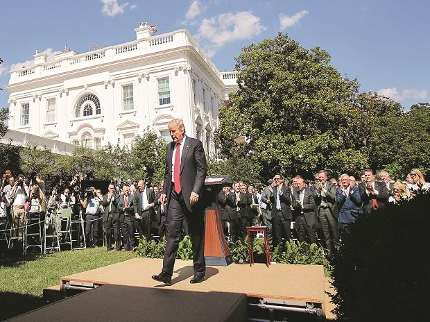 US President Donald Trump after announcing his decision that the US will withdraw from the landmark Paris Climate Agreement, in the Rose Garden of the White House PHOTO:REUTERS/file
