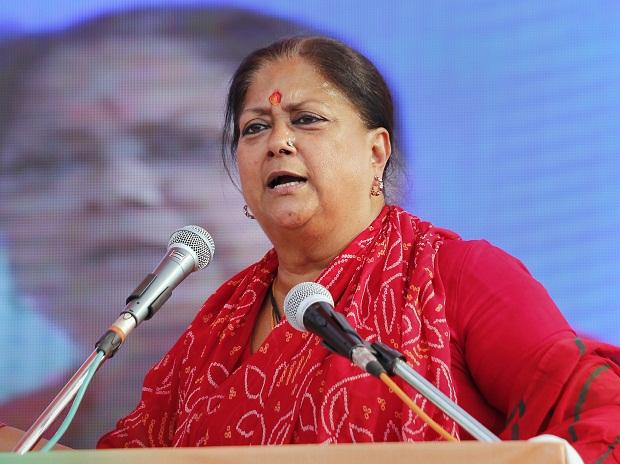 Rajasthan Chief Minister Vasundhara Raje during an election rally in support of the BJP candidates, in Bhilwara | Photo: PTI