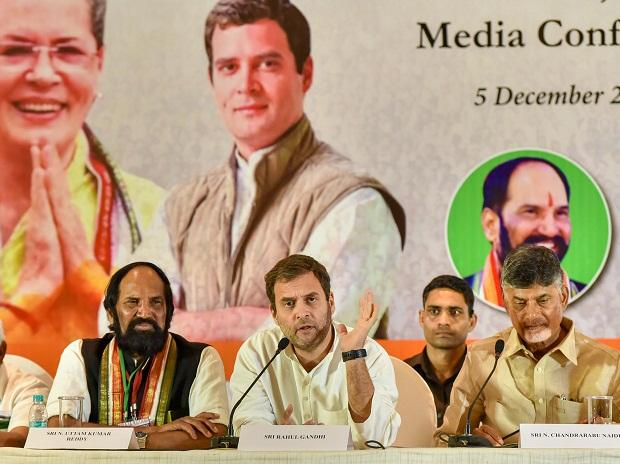 Congress President Rahul Gandhi flanked by Andhra Pradesh Chief Minister N Chandrababu Naidu at a joint media conference in poll-bound state Telangana, in Hyderabad on Wednesday | Photo: PTI