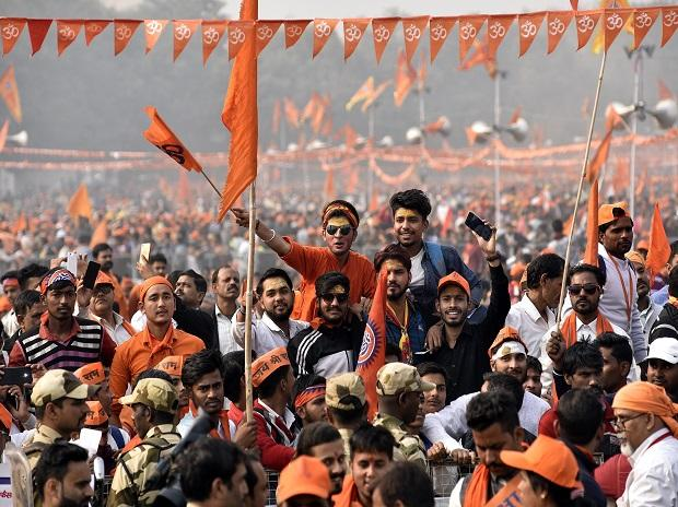 VHP Supporters at Ramlila Maidan during event 'Dharma Sabha', in which thousands of people gathered to press for the construction of Ram Temple in Ayodhya in New Delhi on Sunday/PHOTO-DALIP KUMAR
