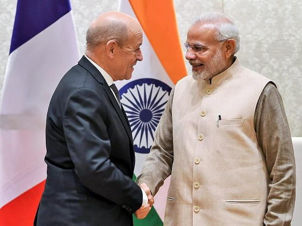 PM Modi, narendra modi, PM, modiMinister for Europe and Foreign Affairs of France Jean-Yves Le Drian, Jean-Yves Le Drian , drian