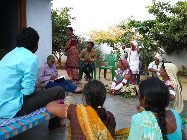 Farmers gather for a meeting at Sarpanch house in Nalgonda (Photo: Sai Manish)