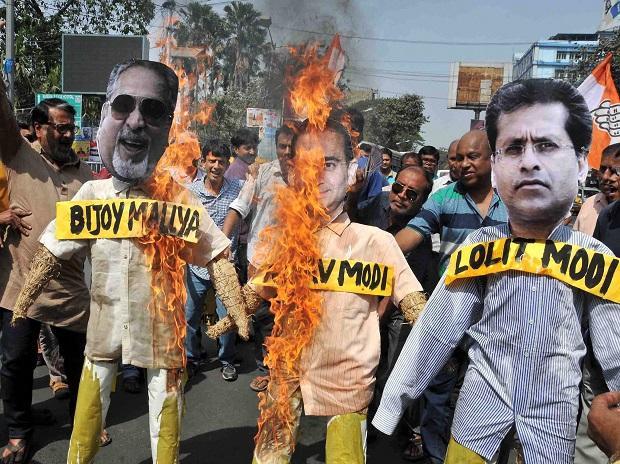 #1 Effigies of Nirav Modi,Vijay Mallya and Lalit Modi