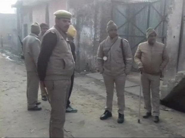 Visuals from Amroha where NIA is conducting searches in connection with a new ISIS module | Photo: ANI