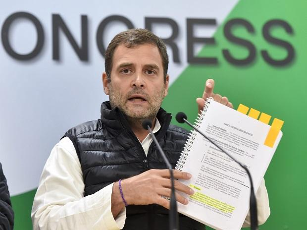 Congress President Rahul Gandhi addresses a press conference at AICC headquarters in New Delhi, Wednesday (Photo: PTI)Rahul Gandhi