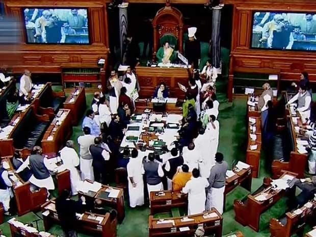 A view of the Lok Sabha during a discussion on the issues relating to Rafale deal, in New Delhi