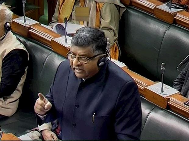 Union Law and Justice Minister Ravi Shankar Prasad speaks in the Lok Sabha during Winter Session of Parliament. Photo: PTI