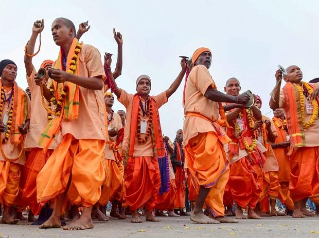 Sadhus participate in religious procession royal entry Peshwai ceremony
