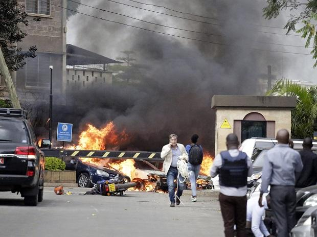 Fire and smoke rise from the scene of an explosion in Nairobi, Kenya on Tuesday | Photo: PTI