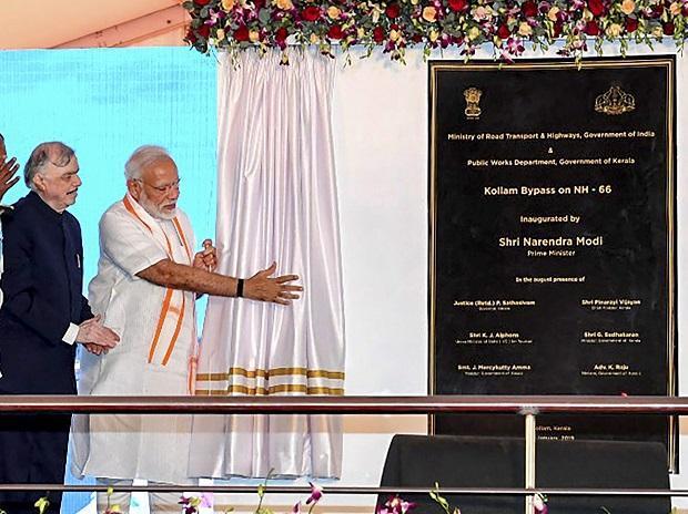 Modi visit to Padmanabhaswamy Temple, Inauguration of Kollam bypass in pics