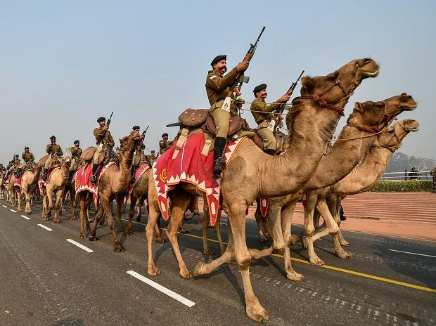 Camel mounted Border Security Force contingent march at Rajpath