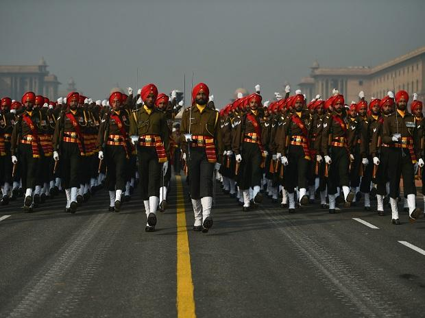 A marching contingent of Sikh Light Infantry Regiment