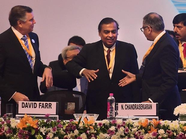 Tata Sons Chairperson Natarajan Chandrasekaran shakes hands with Reliance Industries Chairman Mukesh Ambani at the 9th edition of Vibrant Gujarat Global Summit-2019, in Gandhinagar, Friday | Photo: PTI