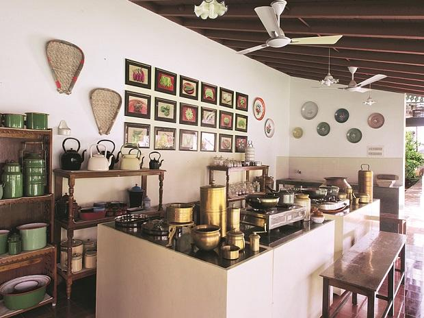 The kitchen at  The Bangala, Chettinad (left);  and crabs from that kitchen