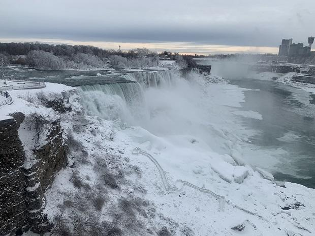 Extreme temperatures have frozen parts of Niagara Falls