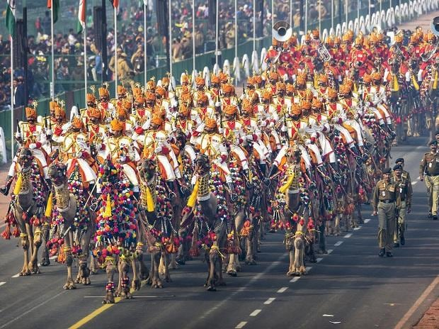 The BSF camel contingent and camel mounted band march
