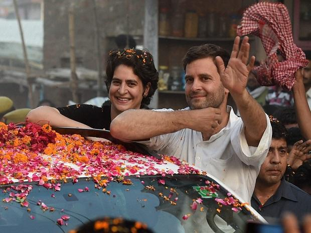 In this May 4, 2014 file photo Priyanka Vadra is seen with her brother and Congress President Rahul Gandhi during a road show in Amethi (Photo: PTI)