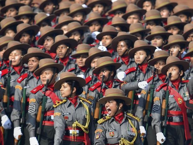 Major Khusboo Kanwar leads the all-women contingent of Assam Rifles, marching past the saluting dais