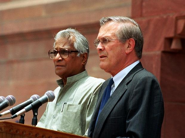Fernandes with then US Secretary of Defense Donald Rumsfeld in 2002