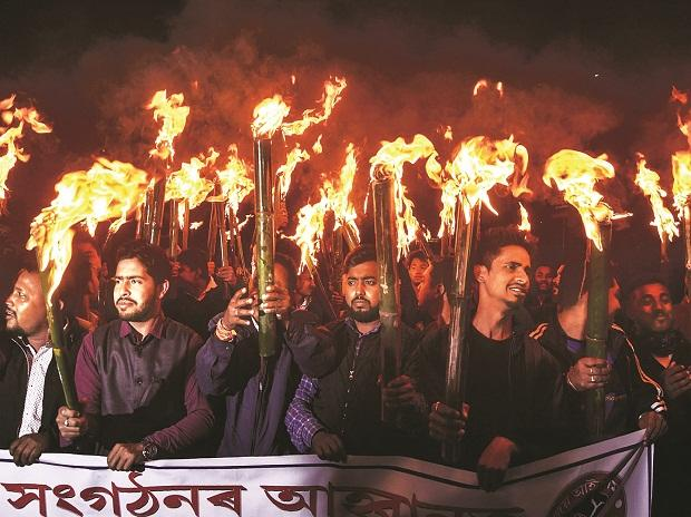 Activists of All Assam Students Union and other organisations take out a rally in protest against the Citizenship (Amendment) Bill in Guwahati. Photo: PTI