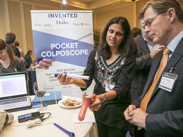 Dr Nimmi Ramanujan, professor of biomedical engineering at Duke University, demonstrating the use of the pocket colposcope
