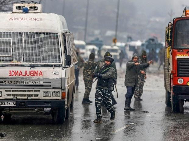 Army soldiers at the site of suicide bomb attack at Lathepora Awantipora in Pulwama district of south Kashmir. File Photo: PTI