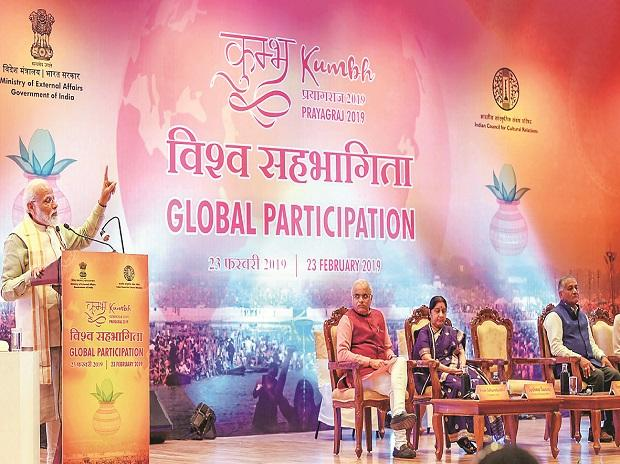 Prime Minister Narendra Modi addresses delegates from various countries at the Pravasi Bhartiya Kendra, in New Delhi, on Saturday. Union Minister for External Affairs Sushma Swaraj and Minister of State for External Affairs V K Singh were also presen