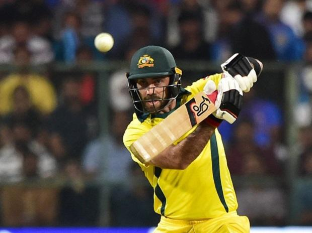 Australia's Glen Maxwell plays a shot against India during the 2nd T20 cricket match at Chinnaswamy Stadium. Photo: PTI