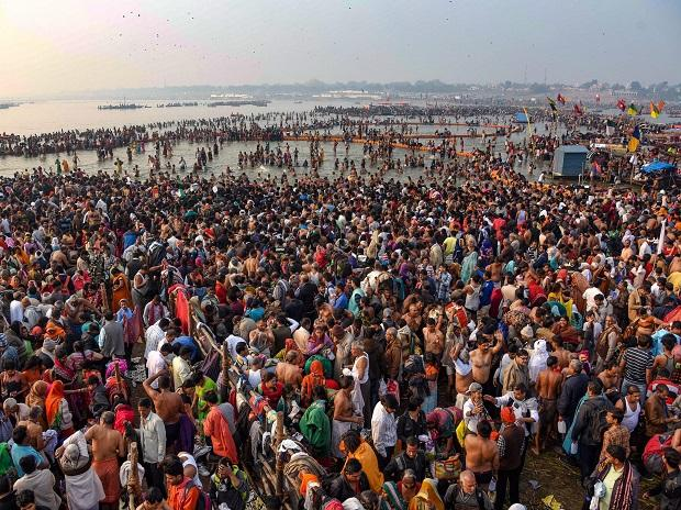 By morning, the bathing ghats brimmed with colours of life