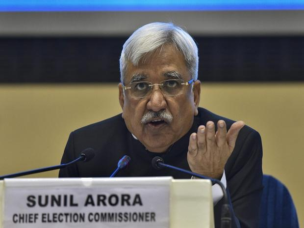 Chief Election Commissioner Sunil Arora addresses a press conference to announce the poll schedule for the forthcoming Lok Sabha elections, at Vigyan Bhavan in New Delhi, Sunday, March 10, 2019.