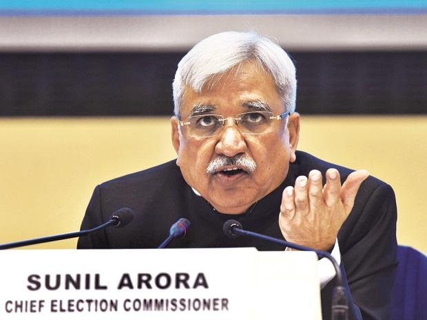 Chief Election Commissioner Sunil Arora at Vigyan Bhavan in New Delhi on Sunday 	Photo: PTI