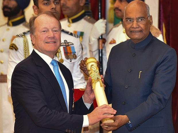 President Ram Nath Kovind confers Padma Bhushan upon John Chambers, founder and CEO of JC2 Ventures  during Padma Awards 2019