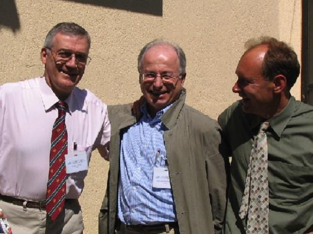 Robert Cailliau, Jean-François Abramatic, and Tim Berners-Lee at the 10th anniversary of the World Wide Web Consortium