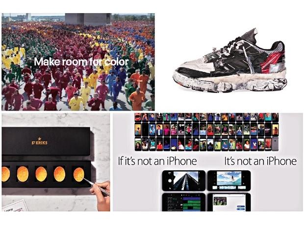 (Top, from left) Apple's 'Colour Flood' commercial; the Fusion Sneakers by Maison Margiela that cost $1,645; (below, from left) St Eriks potato chips, touted to be the world's most expensive potato chips at $56; and Apple's 'If it's not an iPhone, it