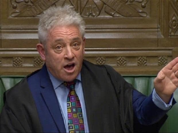 Speaker of the House John Bercow speaks in Parliament, in London, Britain, March 18, 2019, in this screen grab taken from video. Reuters