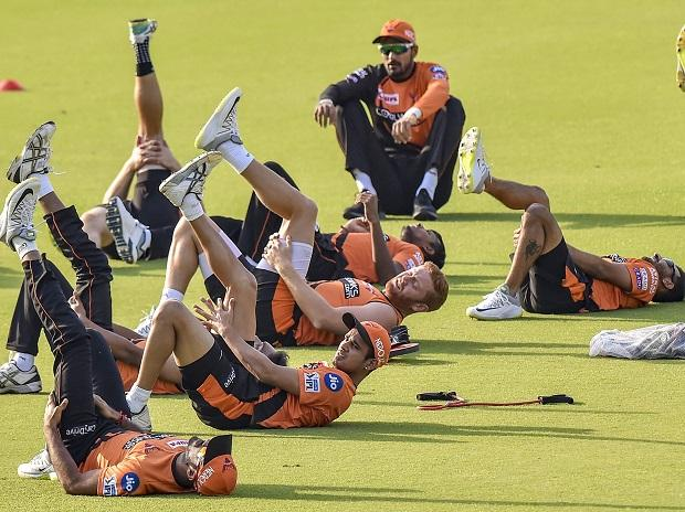 Sunrisers Hyderabad players during a practice session, at Eden Garden in Kolkata. Photo: PTI