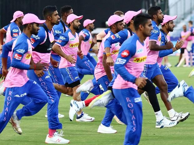 Rajasthan Royals players during the practice session  ahead the IPL match against Kings XI Punjab in Jaipur. File Photo: PTI